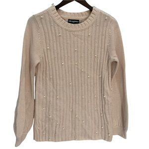 Karl Lagerfeld Pearl Embellished Blush Pink Sweater Size S